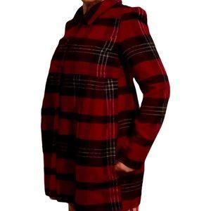 2/$50 Plaid puff sleeve empire waist coat